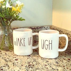 RAE DUNN by Magenta WAKE UP and UGH Coffee Mug Set